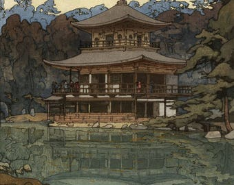 "Japanese Art Print ""Kinkakuji Temple"" by Yoshida Hiroshi, woodblock print reproduction, Kyoto, Japanese garden, mirror, pond, reflection"