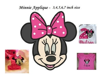 Minnie Mouse Applique Design - 3,4,5,6,7 inch size, Minnie Mouse Applique Machine Embroidery - INSTANT DOWNLOAD