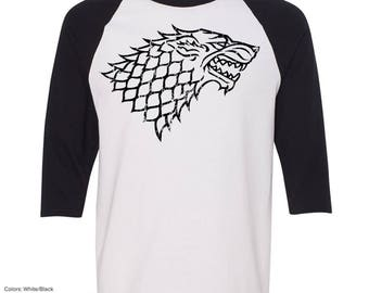 Game of Thrones House Stark Raglan T-Shirt. Game of Thrones Shirt. House Stark Shirt. Game of Thrones Shirts. Raglan T Shirt. S - 3XL.