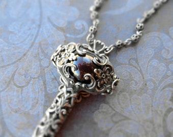 Large romantic garnet key necklace / victorian costume / pendant, natural maroon garnet, sterling silver plated brass, ornate filigree