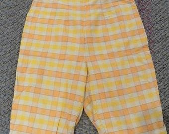 Vintage Orange Plaid Shorts (Plus Size)