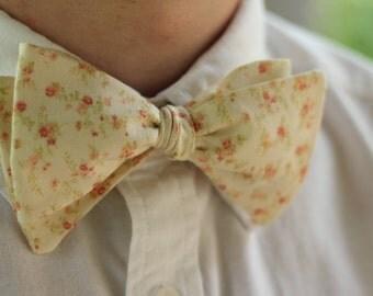 Men's Vintage Floral Self Tie Bow Tie   Bowtie   Bow Tie for Men