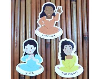 Schuyler Sisters (Hamilton Musical) Vinyl Sticker Decal Set - Angelica, Eliza, Peggy