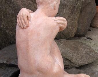 Sculpture terracotta patina - color flesh Art figurative woman