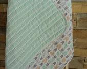 Handmade Arrows Baby Quilt, sea foam green modern blanket, tummy time mat, Arrowheads, car seat quilt, Arrow Quilt