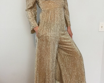 Vintage Gold Sparkly Jumpsuit / 1950s Fifth Avenue Robes / Rare 50s One Piece / One of a Kind / Petite