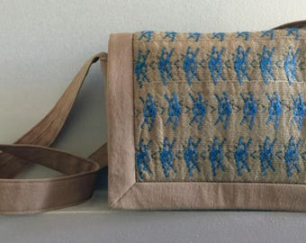 Beige and Blue Seagrass Bag