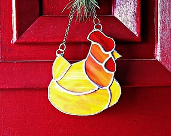 Chicken, Stained Glass, Ornament, Sun Catcher, country, western decor, unique gift,  Christmas Ornament, home decor