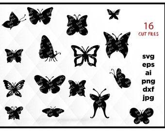 Butterflies SVG, Silhouette Digital Clipart , Clipart Butterflies SVG cutting files, Instant Download, Black Silhouette Clip art, cricut svg