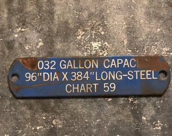 Vintage Gas Capacity Porcelain Sign