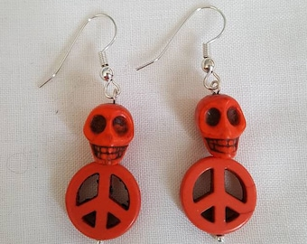 Large Stone Skull on Peace Sign Earrings