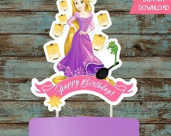Rapunzel Cake Topper, Rapunzel Centerpiece, Tangled Centerpiece, Tangled Cake Topper, Rapunzel Tangled Printable Party Decorations