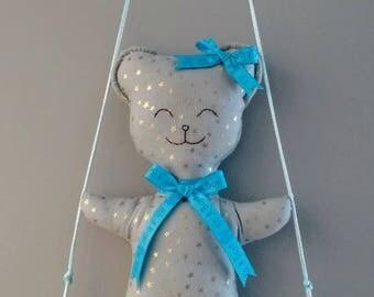 Mobile Driftwood swing Teddy bear nursery decor kids baby birth gift