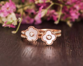 Flower Mother of Pearl Ring Set Unique Rose Gold Engagement Ring Floral Bezel Set Diamond Heart Shaped Eternity Friendship Graduation Beaded