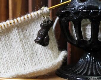 Chocolate Bunny Stitch Marker | Knitting Accessory | Crocheting Accessory | Miniature Charm | Polymer Clay Charm | Knitting Stitch Marker