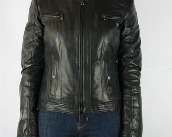 Genuine leather jacket, Biker, Korean, smooth effect. Made in Italy.