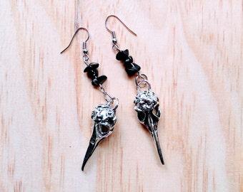 Vulture and onyx skull earrings