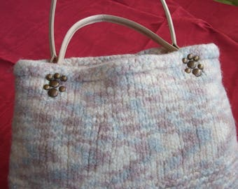 Felted wool with faux handles handbag