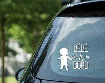 "Vinyl sticker "" Bébé à bord "", boy on board, vinyl on decal paper, car decal, kid on board"