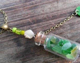 """unique """"bottle"""" green glass necklace"""