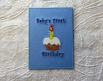 First Birthday card Age card Baby boy card One cake One candle Birthday party invitation Greeting card baby Handmade card Wall art Postcard