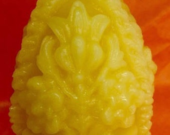 100% Pure Beeswax  Carved Floral Egg Candle