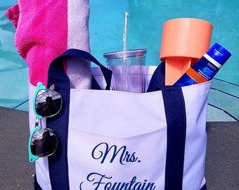 Mrs Custom Beach Bride to be Personalized beach bag New bride Honeymoon Engaged Married AF Wedding gift Newlywed Christmas New Homeowner