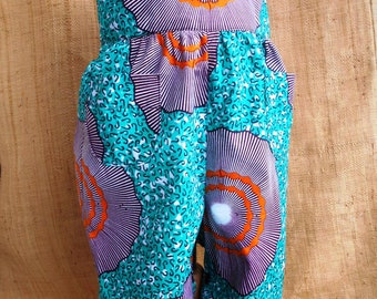 Combination fabric baby romper, African mixed baby 3 to 18 months, green orange wax