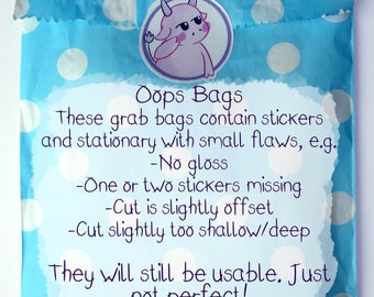 Oops Bag, Minimum DOUBLE the Value -  Grab Bag, Nearly Perfect, Misfits, Misprints, Bargain, Discount, Stationery, Stickers, Pencils, Note