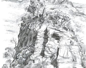 Blue Mountains Three Sisters | Pencil, Ink, Paper, Black and White, Sketch, Drawing, Original, Nature, Australia, Decor