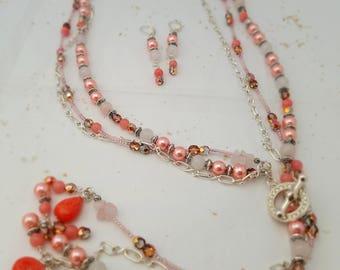 Silver Three Strand Lariat Necklace