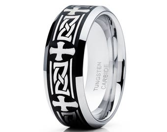 Tungsten Wedding Band Men & Women Tungsten Carbide Ring Tribal Wedding Band Comfort Fit Black Tungsten Ring