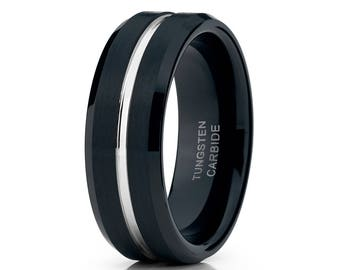 Men's Tungsten Wedding Band Brush Black Tungsten Ring Men & Women 8mm Black Tungsten Wedding Ring Engagement Ring