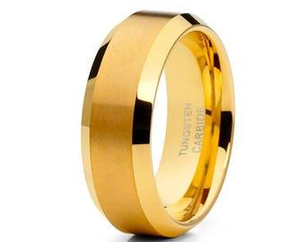 Yellow Gold Tungsten Wedding Band Tungsten Carbide Ring Men & Women Matte Finish Tungsten Wedding Band Engagement Ring