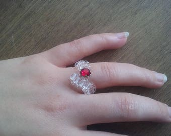 Valentine ring COBRA red and clear Swarovski Crystal beads