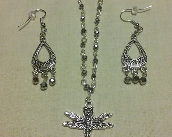 Silver Dragonfly Necklace & Earring Set