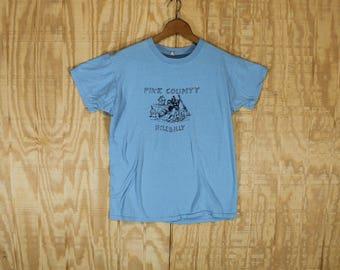 Vintage 1970's Union Underwear Company Pike County Hillbilly 100% Cotton Blue T Shirt Medium Large M / L