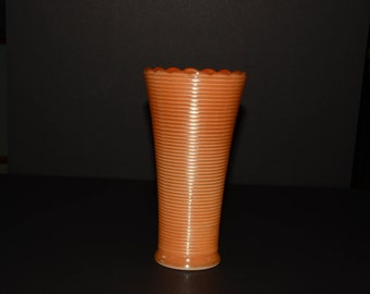 Peach Luster ware, Milk Glass, Vase, Iridescent, Scalloped Manhattan Rib Pattern, ribbed, Peach lustre
