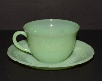FIRE KING, Jadeite, Jadite, Alice, Cup and Saucer Set, Collectible Fire King, Vintage Fire King, Anchor Hocking, Green jadeite milk glass