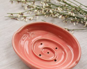 Pink ceramic soap dish