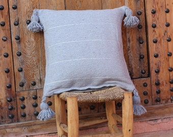 Grey tassel and lurex cushion