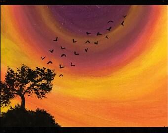 Sunset Tree Painting