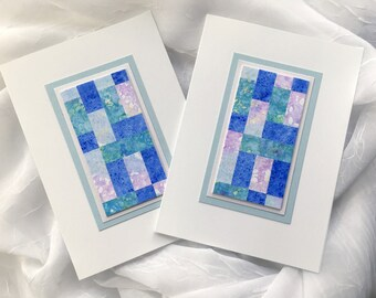 Quilt blank cards, set of 2, original art, individually made from hand-painted papers: A6, fine card, notecard, SKU BLA61010