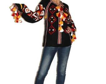Vyshyvanka Embroidered blouse Custom Boho Clothing Mexican Embroidery Ukrainian boho Bohemian Shirt Fashion Ukrainian Linen Blouses