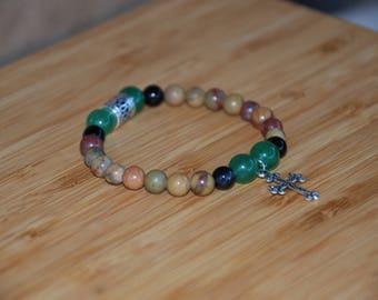 Growing in Faith Gemstone Bracelet with Charm