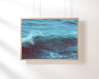 Ocean Water Print, Ocean Waves Print, Ocean Water Print, Blue Ocean Wall Decor, Beach Art, Blue Ocean Poster Digital Print, Digital Download