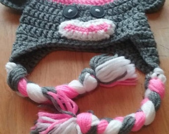 ON SALE - Pink Sock Monkey Beanie