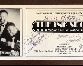 Vintage Autographed Show Card of The INK SPOTS (Featuring Mr. Jim Nabbie)