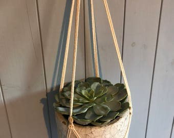 Macrame Plant Hanger- Natural cotton/ For medium to large pots