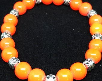 Orange and Silver Glass Beaded Bracelet